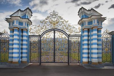 Russia, St. Petersburg. Main entrance to Peterhof Palace.