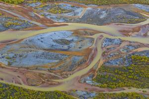 USA, Alaska, Brooks Range, Arctic National Wildlife Refuge. Aerial of Ivishak River. by Jaynes Gallery