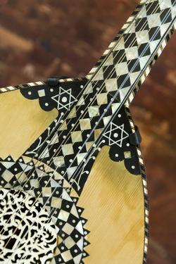 USA, Arizona. Mother of Pearl inlay details on an Arabic 'oud by Jaynes Gallery