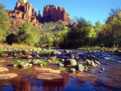 USA, Arizona, Sedona. Cathedral Rock Reflecting in Oak Creek by Jaynes Gallery