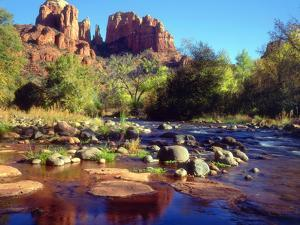 USA, Arizona, Sedona. Cathedral Rock Reflecting in Oak Creek by Jaynes Gallery