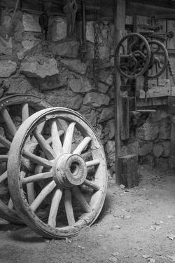 USA, California, Bishop. Black and white inside blacksmith shop by Jaynes Gallery