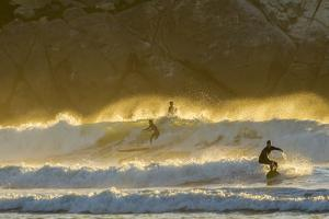 USA, California, San Luis Obispo County. Surfers at sunset. by Jaynes Gallery