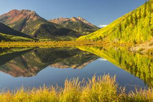 USA, Colorado, San Juan Mountains. Crystal Lake reflection in autumn. by Jaynes Gallery