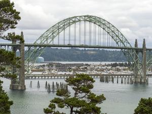 USA, Oregon, Newport. Yaquina Bay Bridge and landscape. by Jaynes Gallery