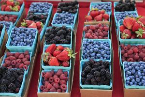 Usa, Oregon, Portland. Display of berries at Farmers Market. by Jaynes Gallery