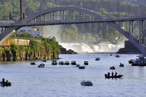 USA, Oregon, Portland. Salmon fishing on Willamette River. by Jaynes Gallery