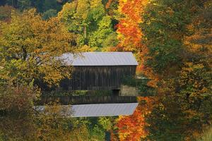 USA, Vermont. Covered Bridge and Autumn Reflections by Jaynes Gallery