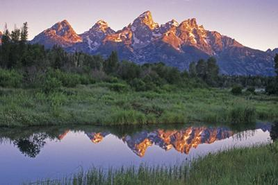 USA, Wyoming, Grand Teton National Park. Mountains reflect in beaver pond at sunrise. by Jaynes Gallery