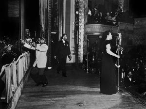 Jazz and Blues Singer Billie Holiday with Bluesmen Hot Lips Page and Jimmie Evans at Apollo Theatre
