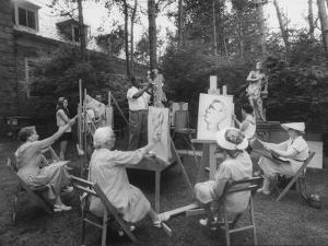 Jazz Trumpeter Louis Armstrong, Posing for Adult Art Students