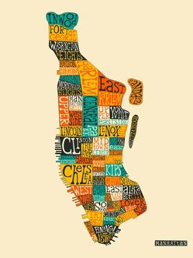 Manhattan Typographic Map by Jazzberry Blue