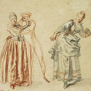 A Scene from the Commedia Dell'Arte: a Girl Resisting the Advances of a Comedian, and an Actress… by Jean Antoine Watteau