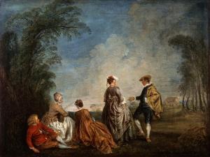 An Embarrassing Proposal, 1715-1716 by Jean-Antoine Watteau