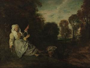 Evening Landscape with Spinner, Ca 1715 by Jean Antoine Watteau