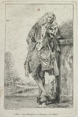 Figures De Mode: Homme Debout Acconde by Jean Antoine Watteau