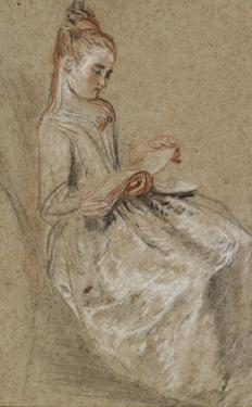 Girl Seated with a Book of Music on Her Lap (Black by Jean Antoine Watteau
