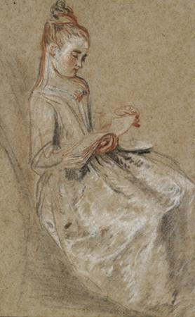 Girl Seated with a Book of Music on Her Lap (Black