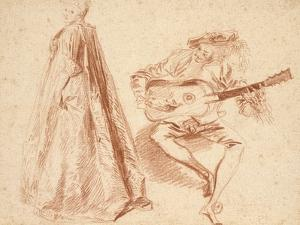 Girl Standing in Profile to Left by Jean Antoine Watteau