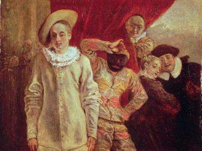 Harlequin, Pierrot and Scapin, Actors from the Commedia dell'Arte by Jean Antoine Watteau