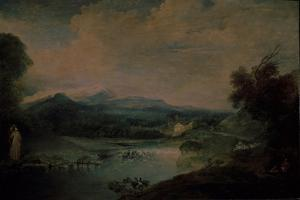 Landscape with a Waterfall, Ca 1714 by Jean Antoine Watteau