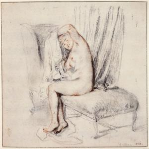 Nude Woman Sitting on a Chaise Longue, Putting on Her Shirt, 18th Century by Jean-Antoine Watteau