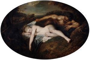 Nymph and Satyr, C1715 by Jean-Antoine Watteau