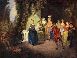 Rococo genre scene: French Comedy - by Jean Antoine Watteau