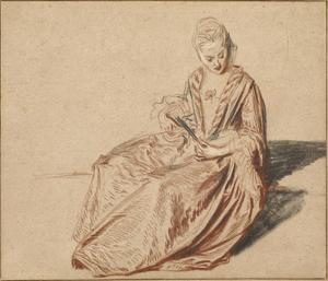 Seated Woman with a Fan by Jean-Antoine Watteau