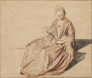 Seated Woman with a Fan by Jean-Antoine Watteau