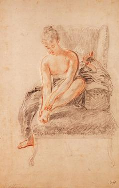 Semi-Nude Woman Seated on a Chaise Longue, Holding Her Foot (Sanguine and Black Chalk on Paper) by Jean Antoine Watteau
