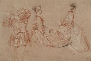 Studies of a Flute-Player and Two Women, 1717 by Jean-Antoine Watteau
