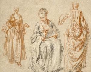 Studies of Three Women by Jean-Antoine Watteau