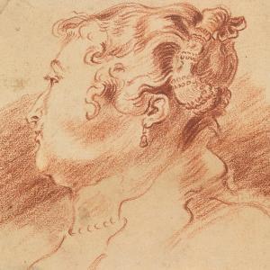 Study of Woman's Head, C. 1725 by Jean Antoine Watteau