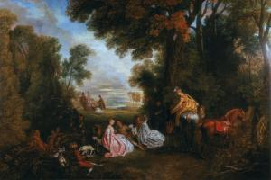 The Halt During the Chase (Rendez-Vous De Chasse), 1717-1720 by Jean-Antoine Watteau