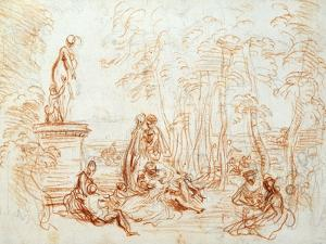 The Pleasure of Love, Sketch, 18th Century by Jean-Antoine Watteau