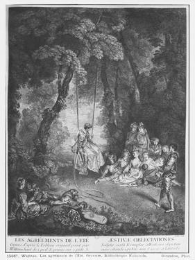 The Pleasures of Summer, Engraved by Francois Joullain by Jean Antoine Watteau