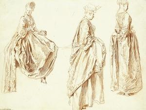 Three Ladies in Profile to the Right, One Seated, C.1713-14 by Jean Antoine Watteau