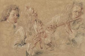 Two Studies of a Flutist and a Study of the Head of a Boy by Jean-Antoine Watteau