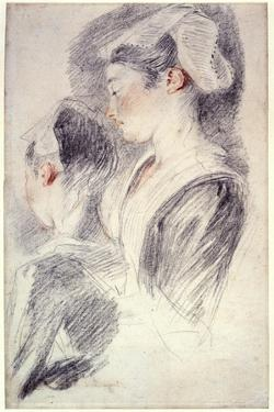 Two Studies of a Young Woman's Head, 1716-18 by Jean-Antoine Watteau