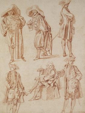 Two Studies of the Doctor in the Italian Comedy and Four Officers, Three Standing, One Seated by Jean Antoine Watteau