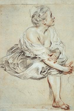 Woman Sitting and Turned Towards the Right, C1716 by Jean-Antoine Watteau