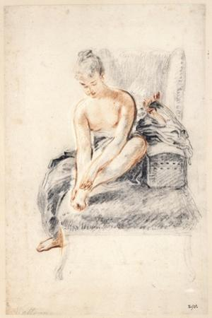 Young Woman, Nude, Holding One Foot in Her Hands, 1716-18 by Jean-Antoine Watteau