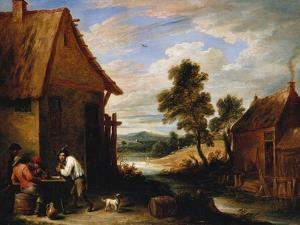 A River Landscape with Peasants Outside a Tavern by Jean B?raud