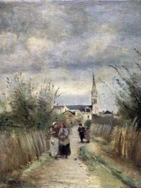 Bell Tower in Argenteuil (Road to the Churc), 1870S by Jean-Baptiste-Camille Corot