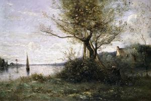Boat at the Edge of the Island by Jean-Baptiste-Camille Corot