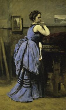 La Dame En Bleu by Jean-Baptiste-Camille Corot