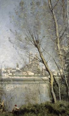 Mantes, View of the Cathedral and Town Through the Trees, c.1865-70 by Jean-Baptiste-Camille Corot