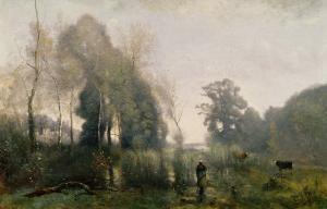 Morning at Ville-D'Arvray Or, the Cowherd, 1868 by Jean-Baptiste-Camille Corot