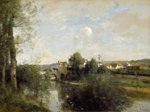 Seine and Old Bridge at Limay, 1872 by Jean-Baptiste-Camille Corot